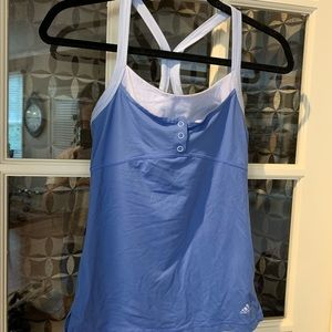 Adidas blue fitted workout tank top